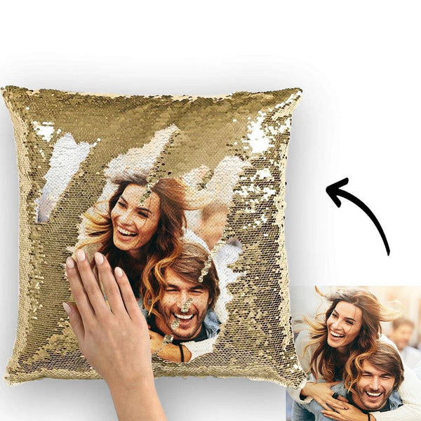 Magic Sequins Pillow - Custom Your Photo - Golden - 15.75in x15.75in