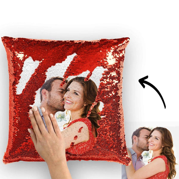 Magic Sequins Pillow - Custom Your Photo - Red - 15.75in x15.75in