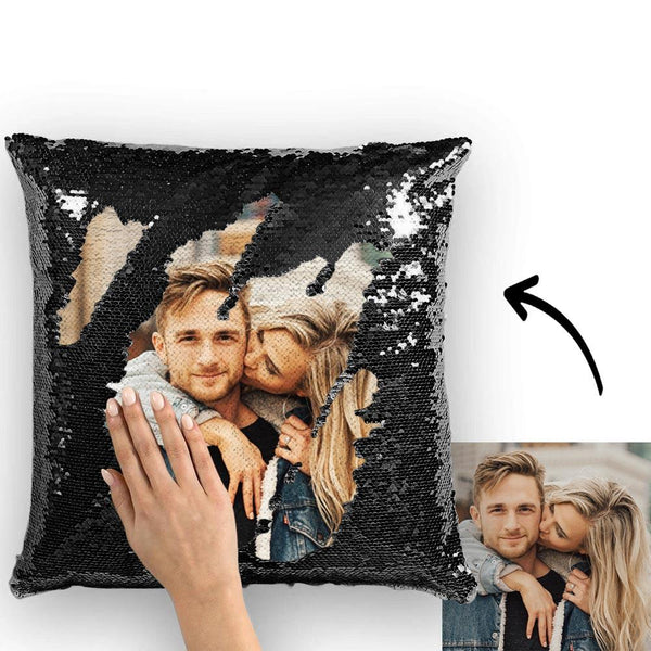 Magic Sequins Pillow - Custom Your Photo - Black - 15.75in x15.75in