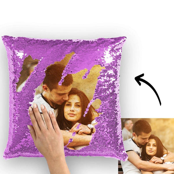 Magic Sequins Pillow - Custom Your Photo - Purple - 15.75in x15.75in