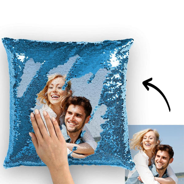 Magic Sequins Pillow - Custom Your Photo - Lake Blue - 15.75in x15.75in
