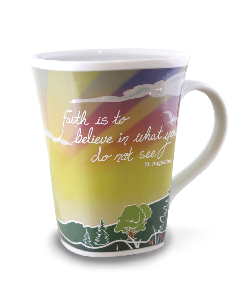 Color changing mug, Faith, is gift packaged allowing you to see both cold and hot mugs.