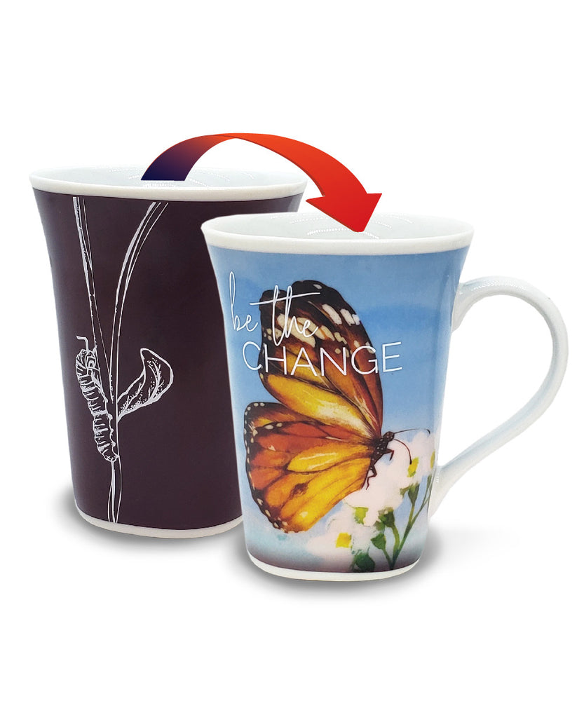 Butterfly Change - Color Changing Mug - Heat Changing Mug - Unique Coffee Mug - Magic Mug