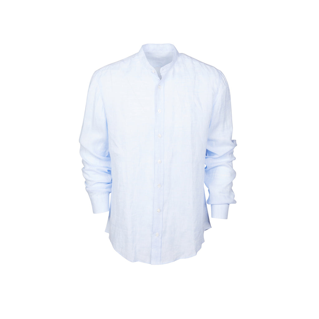 Linen Shirt Korean Collar Sky Blue