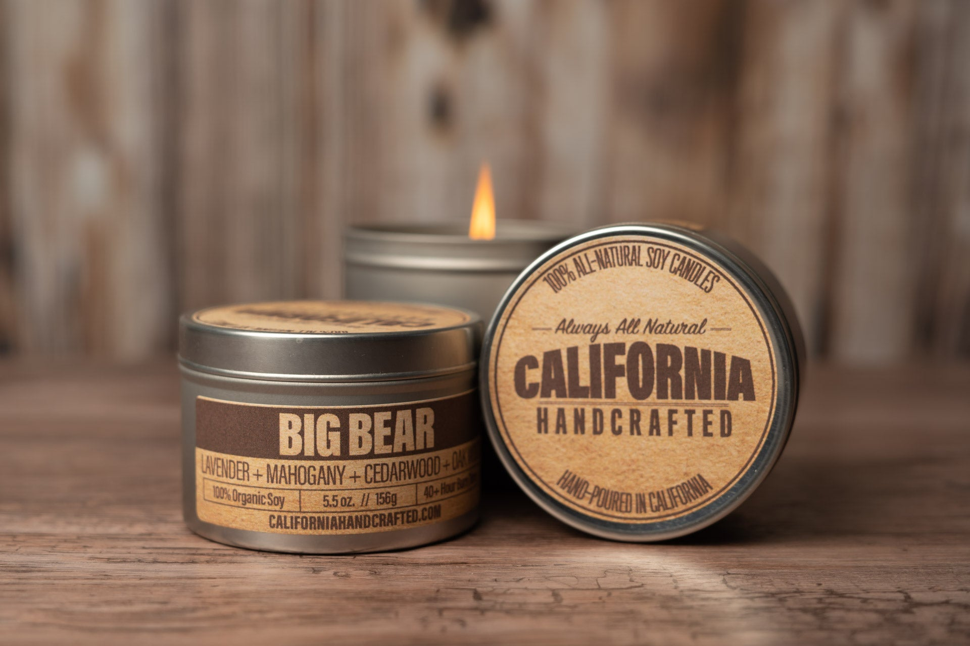 Big Bear - MAHOGANY + LAVENDER + TEAK OIL + CEDAR - Soy Candle in Travel Tin