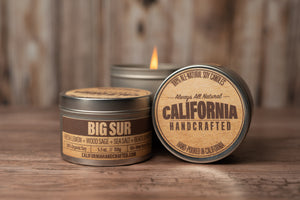 Big Sur - FRESH LEMON + WOOD SAGE + SEA SALT + BEACH JUNIPER - Soy Candle in Travel Tin