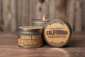 Laguna Beach - SEA SALT + JASMINE + LILY + TONKA BEAN - Soy Candle in Travel Tin