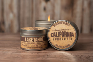 Lake Tahoe - LEMON PEEL + HONEYSUCKLE + VANILLA + WHITE MUSK - Soy Candle in Travel Tin