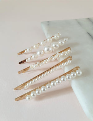 THE ULTIMATE PEARL SLIDE HAIR CLIP SET