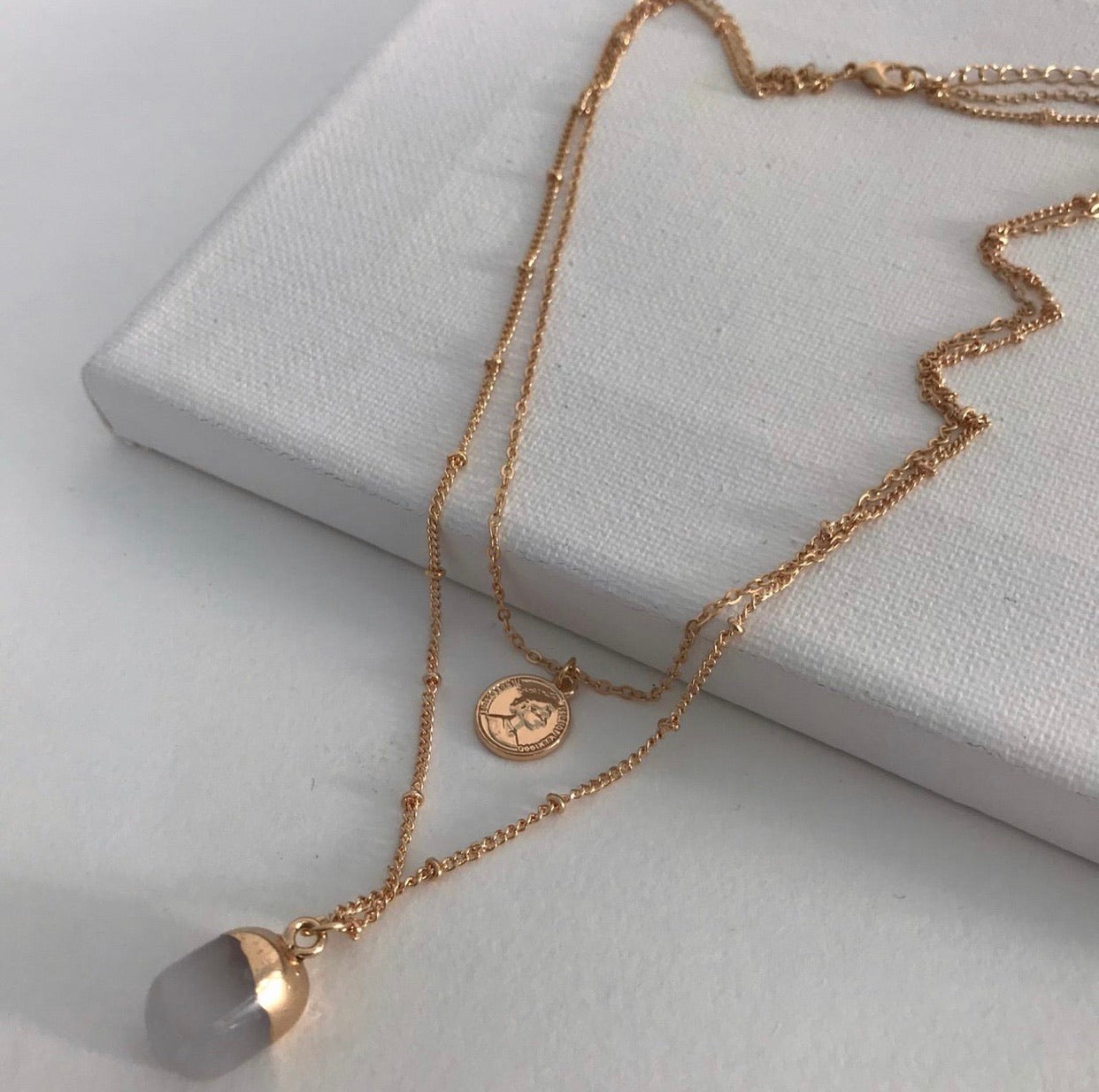 THE DEBRA COIN AND STONE NECKLACE SET