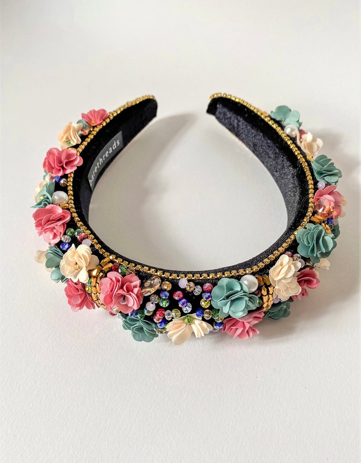 THE DAPHNE FLORAL ENCRUSTED HEADBAND