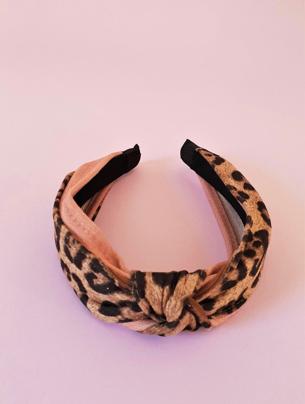 ANIMAL PRINT AND PINK KNOT ALICE BAND