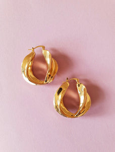 CHUNKY TWISTED GOLD HOOPS