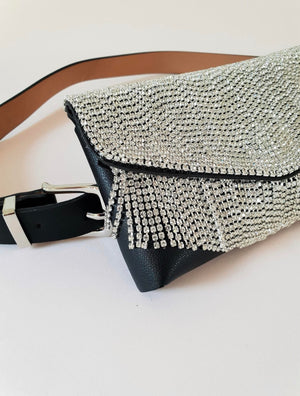 TASSELED RHINESTONE BELT BAG