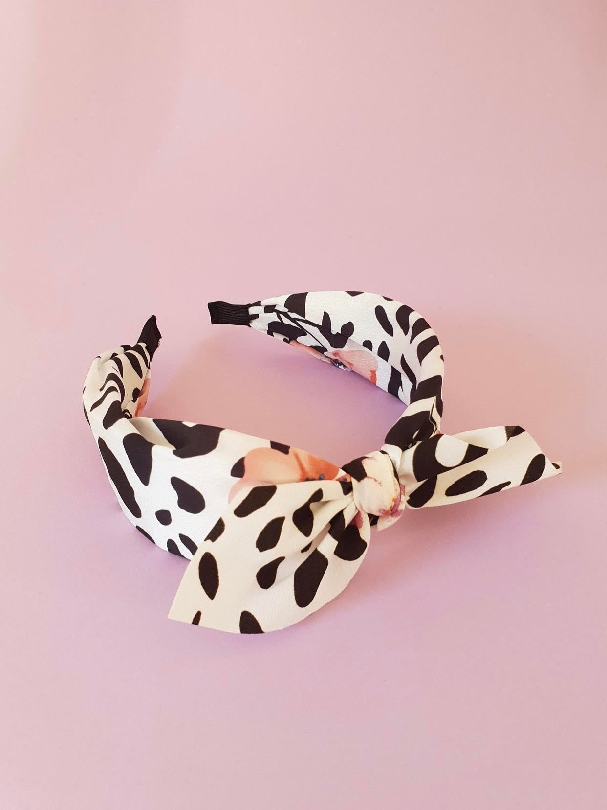 FLORAL AND ANIMAL PRINT BOW ALICE BAND -WHITE