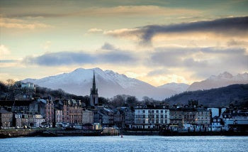 The town on Rothesay on the Isle of Bute