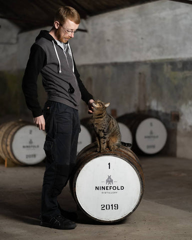 Kit Carruthers and Watson - the distillery cat