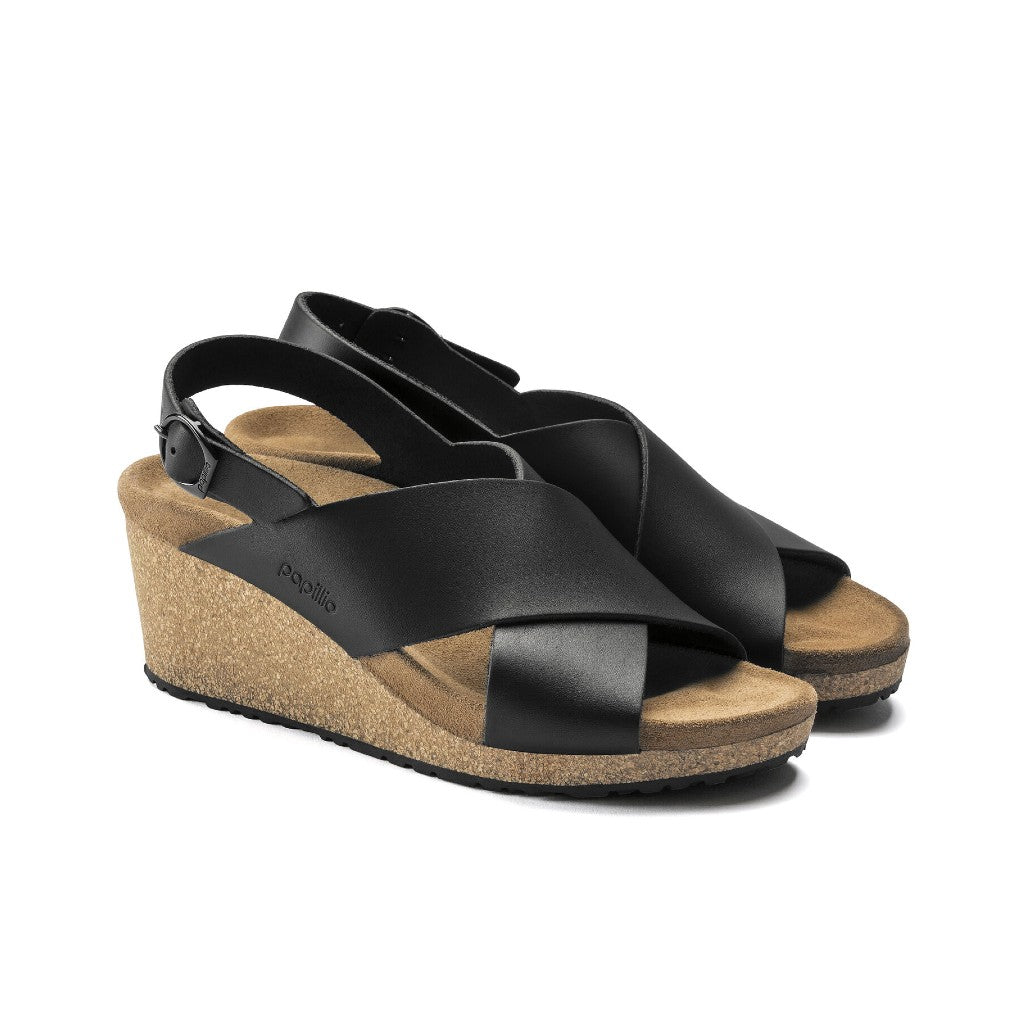 BIRKENSTOCK SAMIRA RING BUCKLE PAPILLIO NATURAL LEATHER BLACK
