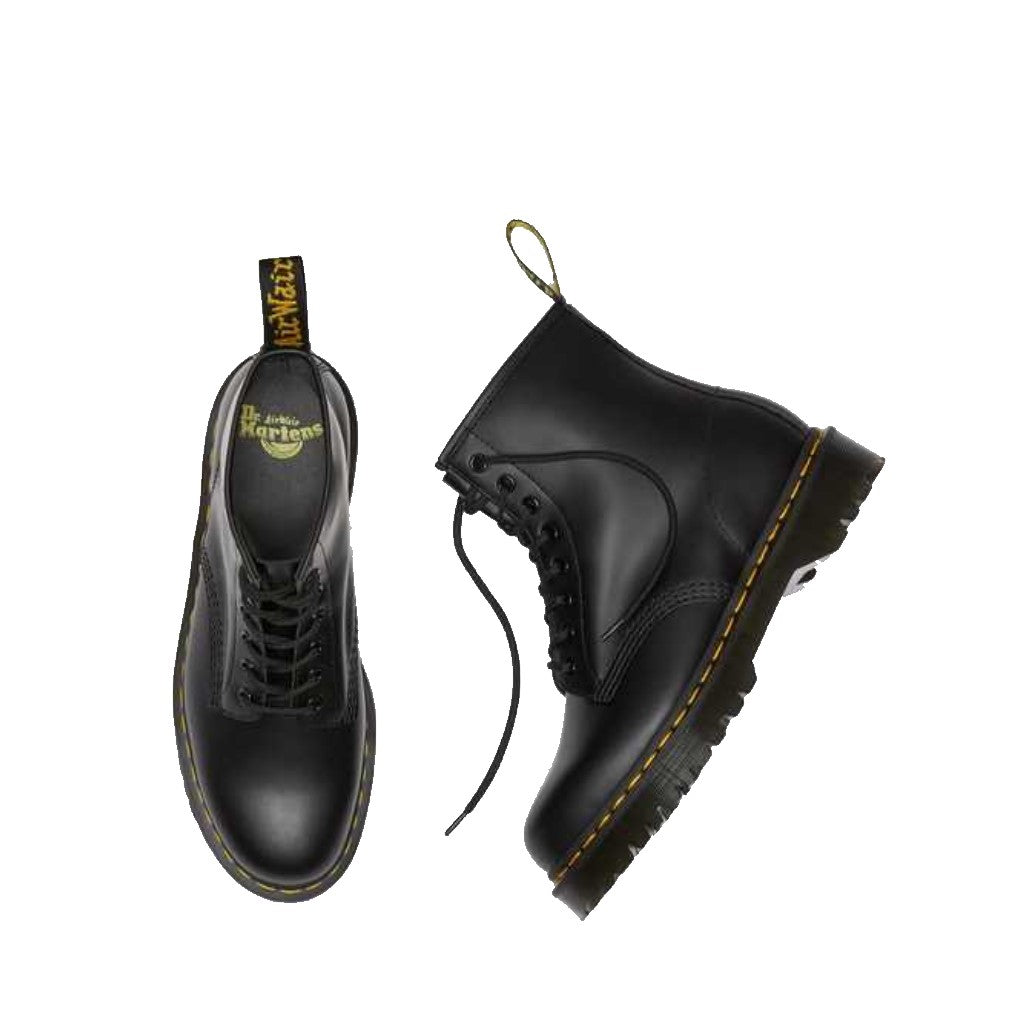 DR.MARTENS-1460 BEX LEATHER PLATFORM BOOT-BLACK SMOOTH