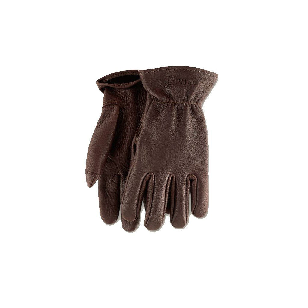 RED WING-UNLINED BUCKSKIN LEATHER GLOVE MEN-BROWN BUCKSKIN