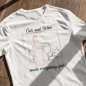 Cats and Wine | Unisex | T-Shirt - MegaCat