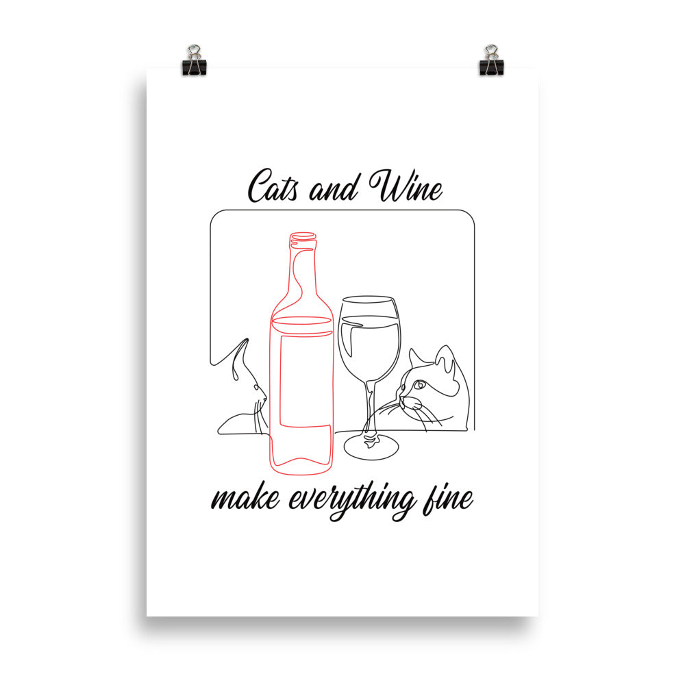 Cats and Wine Black Edition | Premium Poster