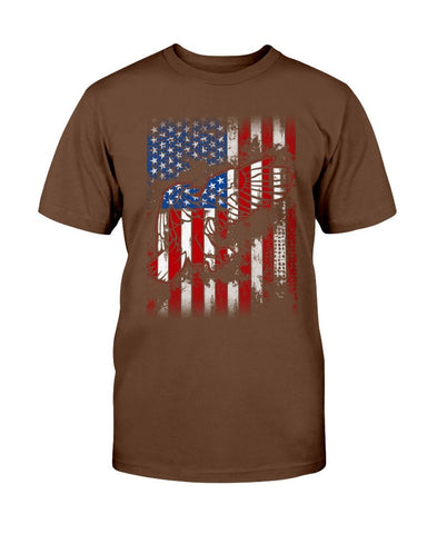 Image of Patriotic T-Shirt - Flag With Eagles