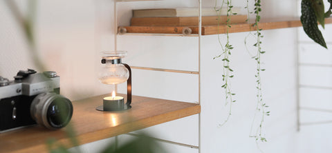 Kinto's Aroma Oil Warmer in Black sat on a wooden bookshelf next to an SLR camera, with plant life draped nearby