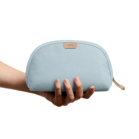Bellroy's Classic Pouch in Smoke Blue, made with Tencel x Refibra