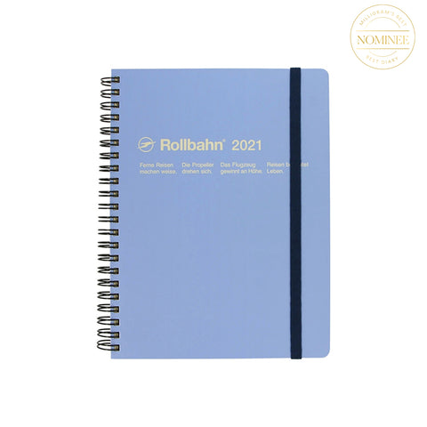 Delfonics Rollbahn Note Diary with Sky Blue cover and yellow text