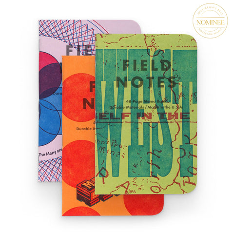 Field Notes' Limited Edition United States of Letterpress Notebook set, with three notebooks each bearing a different, colourful letterpress cover