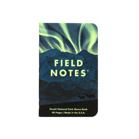 A Field Notes notebook depicting the Aurora Borealis over Denali National Park – part of the National Parks Series E Limited Edition