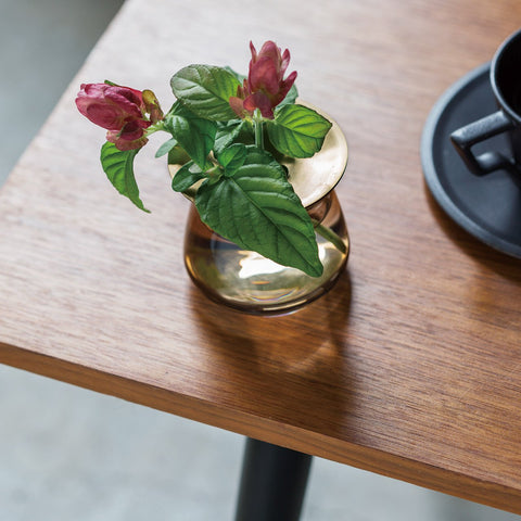 Kinto's Luna Vase on a table, holding a pair of rose buds