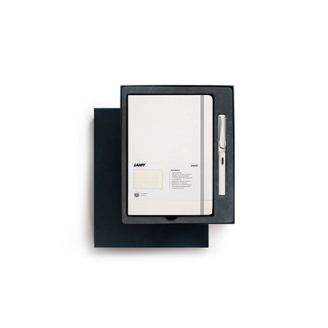 LAMY's Safari Fountain Pen and Notebook Gift Set in White, presented in a fitted black gift box