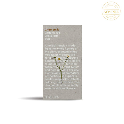 Love Tea Chamomile Loose Tea package (a grey rectangular box with white text and a chamomile flower on the front)