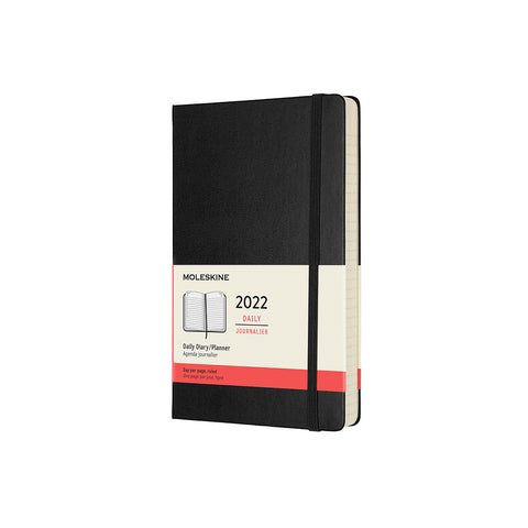 Moleskine's 2022 Daily Diary in hard cover with a black finish, floating on a white background