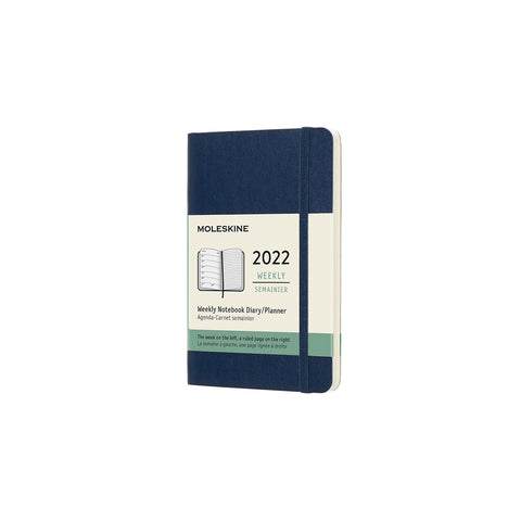 Moleskine's 2022 Soft Cover Weekly Notebook Diary (pocket-sized) with soft Sapphire Blue cover