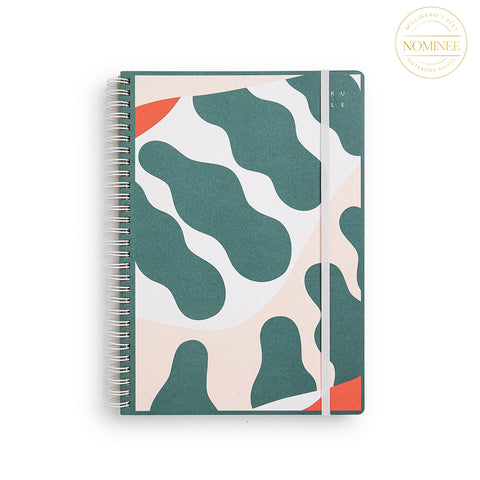 Studio Milligram's Carla McRae Spiral Bound Notebook, with an Art cover featuring deep green, pink and white in an abstract, plant-like design