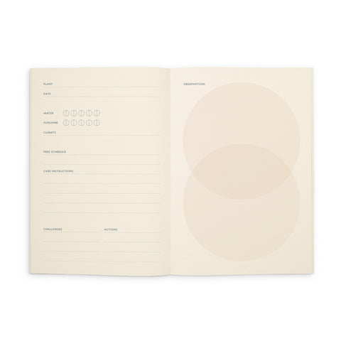 An open view of Studio Milligram's 'Grow' Life Journal, with plant care notes on the left page and a circle diagram (two circles, overlapping slightly on the vertical axis) on the right