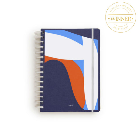 Studio Milligram Spiral Bound Non-Diary with blue Art cover (featuring navy background and abstract shapes in orange, light blue and white)