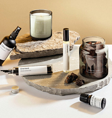 Studio Milligram's Sensory range {img: Volcanic Rocks, Essential Oil, Japanese Incense, Scented Candle and Interior Scent]