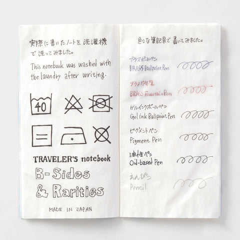 An inside-view of the Traveler's Notebook Washable Paper Refill that shows how various pens and inks hold up after being washed