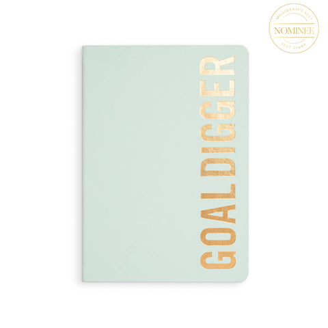 MiGoals 2021 Bold Goal Digger Diary in Mint Green, with GOAL DIGGER printed vertically in gold foil
