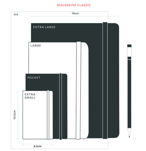 Silhouettes of Moleskine notebooks overlaid on each other, ranging from Extra Small (the smallest), through Pocket to Large to Extra Large, with each being roughly double the size of the one before it.