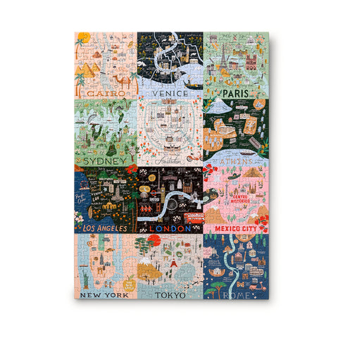Rifle Paper Co. Maps Jigsaw Puzzle featuring a 12-square grid of world-famous cities like Venice, Toyko and Cairo in Rifle signature style