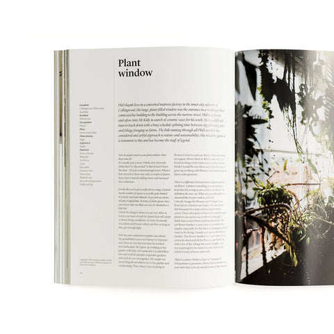 An open page from 'Indoor Green', with text on one side and a photo of a loft garden on the other