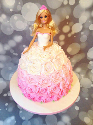 PINK AND WHITE BARBIE DOLL CAKE