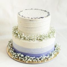 2 TIER BLUEBERRY FLORAL AND FRESH FLOWER CAKE