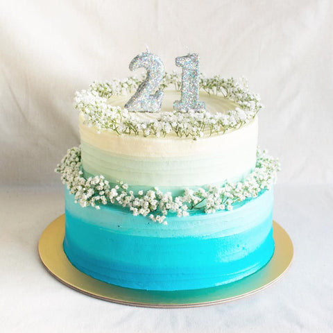 2 TIER BLUE VANILLA FRESH FLOWER CAKE
