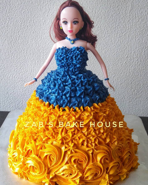 BLUE AND YELLOW DOLL CAKE - CHOCOLATE